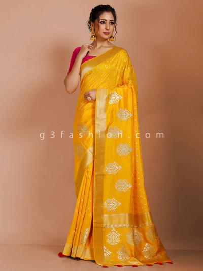 Yellow small butties zari saree in dola silk
