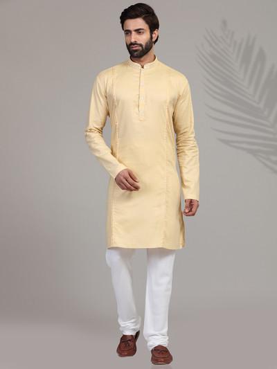 Yellow solid cotton silk kurta suit
