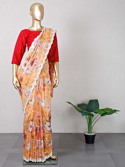 Yellow tissue silk wedding wear saree for women