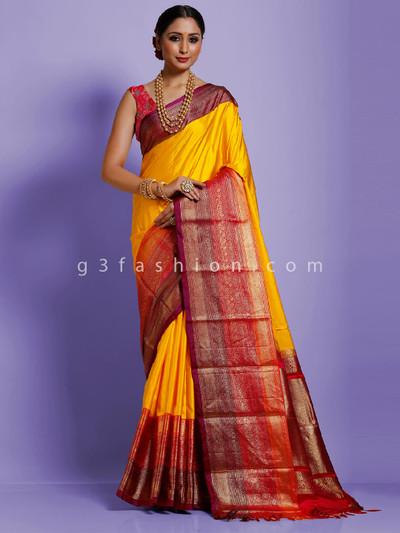 Yellow twill silk designer saree with weaving
