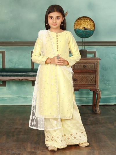 Yellow wedding cotton silk punjabi palazzo suit