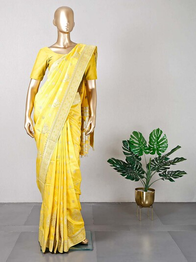 Yellow wedding wear dola silk saree