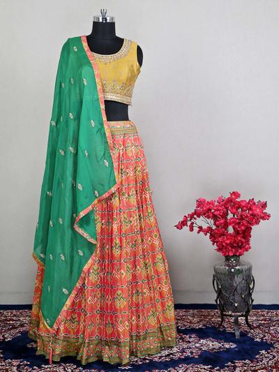 Yellow wedding wear lehenga choli with zari details