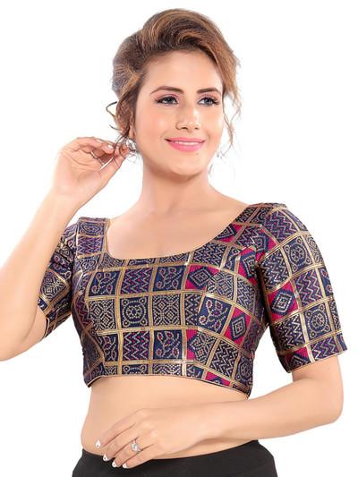 Zari and thread weaving blue readymade blouse