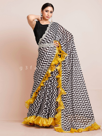 Zigzag patern black and white georgette saree with readymade blouse