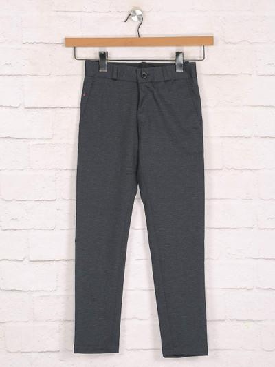 Zillian black cotton casual boys trouser