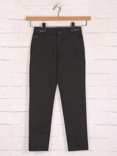 Zillian black cotton casual wear boys trouser