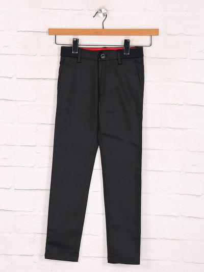 Zillian solid black boys cotton casual trouser