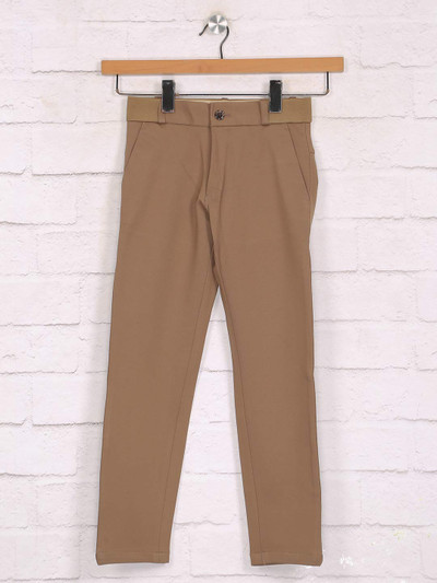 Zillian solid brown boys casual trouser